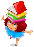 Girl with books. On her head Royalty Free Stock Photos