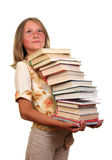 Girl with books. Girl with stack of books Stock Photo