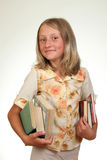 Girl with books. Funny girl with her books Royalty Free Stock Photo