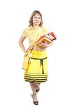 Girl with books and bag over white Stock Photos