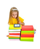 Girl, books and e-book Royalty Free Stock Photo