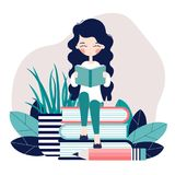 Girl and books 2. A girl is sitting and reading a book. Reading. Books. Vector illustration. Reading stock illustration
