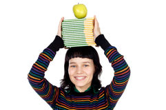 Girl with a books in the head. Girl with books and apple in the head a over white background Royalty Free Stock Photos