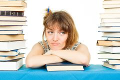 Girl with books isolated on white background. In the library Stock Image