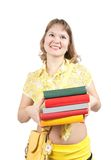 Girl with books  over white Royalty Free Stock Photography