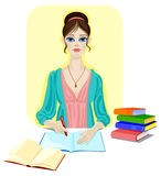 Girl with books, pen and blank notebook. Student with red pen and blank notebook is doing her homework Stock Images