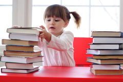 Girl and books for reading Royalty Free Stock Photo