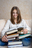 Girl and books Stock Photos