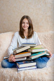 Girl and books Royalty Free Stock Photos