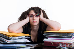 Girl  books tired Royalty Free Stock Photo