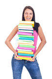 Girl with books winking Royalty Free Stock Image