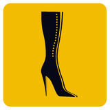 Girl boot icon. Black boot illustration royalty free illustration