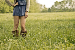 Girl Boots Standing Green Grass Field Royalty Free Stock Photos