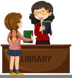 Girl borrowing book from library. Illustration stock illustration