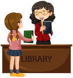 Girl borrowing book from library. Illustration vector illustration