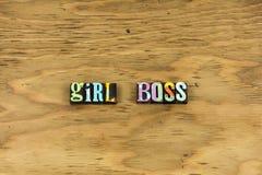 Girl boss leader business woman letterpress. Typography feminism girls power women female business leadership skills lead teamwork bossy lady job stock image