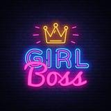 Girl Boss neon text vector design template. Girl Boss neon logo, light banner design element colorful modern design vector illustration