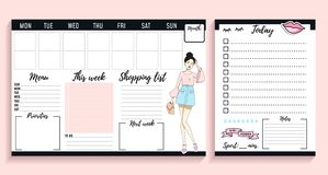 Girl boss weekly and daily planner design with fashion elements and young women. Vector illustration vector illustration