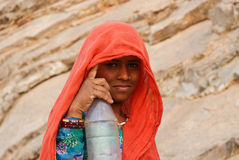 girl with a bottle while drought, Rajasthan Stock Images