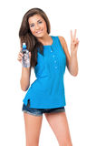 Girl with bottle of water Stock Photos