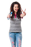 Girl with bottle of water Royalty Free Stock Photography