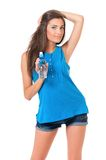 Girl with bottle of water Stock Photography