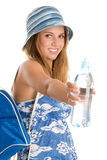 Girl with bottled water. Summer girl with bottled mineral water royalty free stock images