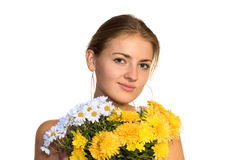 Girl with bouquet Stock Image