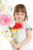 Girl with bouquet Stock Images