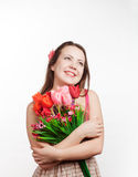Girl with a bouquet Stock Image