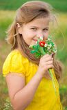 Girl with bouquet Royalty Free Stock Photos