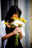 Girl with bouquet Royalty Free Stock Image