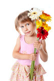 Girl with a bouquet of chrysanthemums Royalty Free Stock Photo