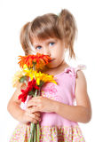 Girl with a bouquet of chrysanthemums Royalty Free Stock Photos