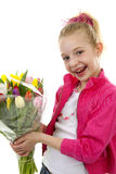 Girl with bouquet of colorful Dutch tulips Stock Photography