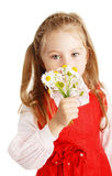 The girl with a bouquet of colors in a hand royalty free stock photo