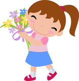 Girl With A Bouquet Of Flowe Stock Photography