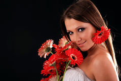 Girl with a bouquet of flowers. Royalty Free Stock Photos