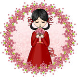 Girl with a bouquet from flowers. Young girl with a bouquet from flowers royalty free illustration