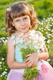 Girl with a bouquet of flowers Royalty Free Stock Photo