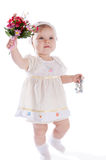 Girl with bouquet of flowers Royalty Free Stock Image