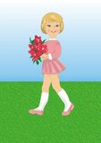 Girl with a bouquet of flowers. Beautiful girl walking on meadow.  holding a bouquet of red flowers Stock Images