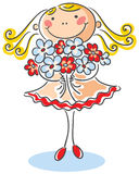 Girl with a bouquet of flowers Royalty Free Stock Images