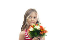 girl with a bouquet of flowers Stock Photo