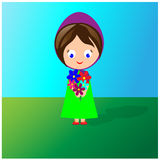 Girl with bouquet of flowers Stock Photography