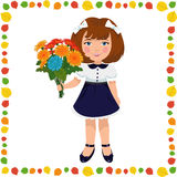 Girl with a bouquet of flowers. Small elegant girl with a bouquet of flowers Stock Photo