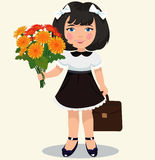 Girl with a bouquet of flowers Stock Images