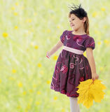 Girl with a bouquet of maple leaves Stock Images