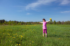 A  Girl with a bouquet on a meadow. A little Girl with a bouquet of dandelions on a meadow in Sunny day Royalty Free Stock Photos