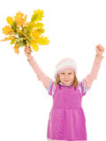 Girl with a bouquet of oak leaves Stock Images